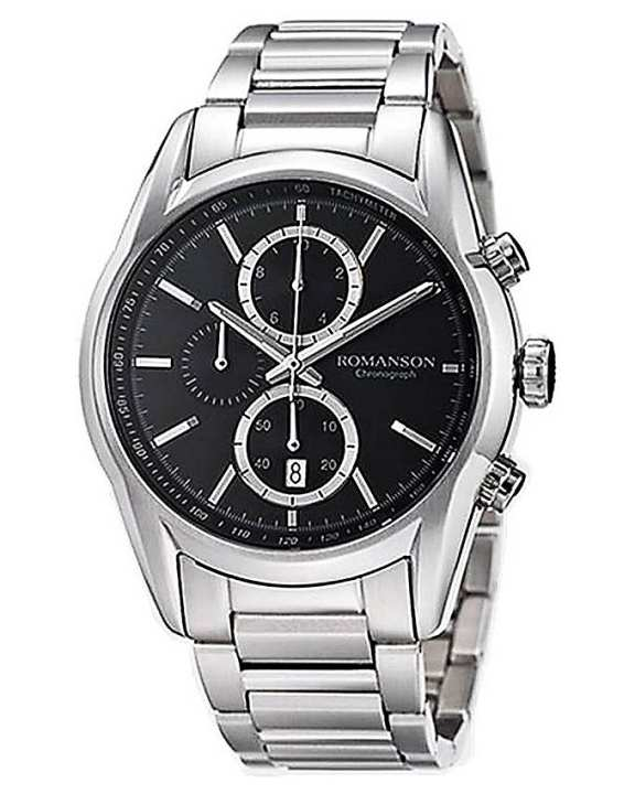 Romanson Silver Stainless Steel Quartz Analog Watch For Men - AM5A13H MW BK