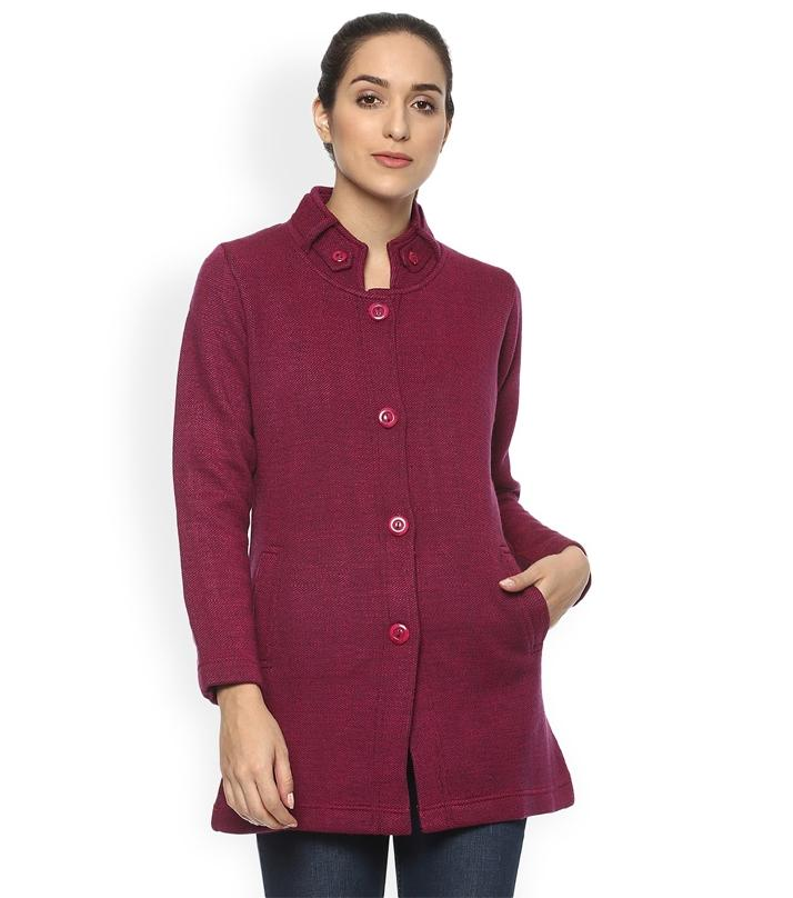a5143f0ea02a A G Maroon Fleece Long Sweater for Women