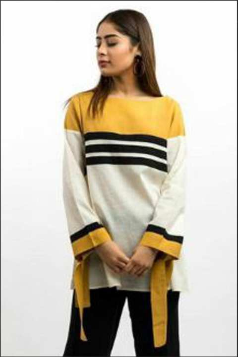 BRANDSTITCH - Yellow Striped Boski Western Shirt For Women