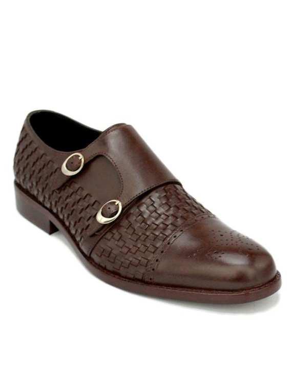 C-101365-Dark Brown Hand Weaved Leather Shoe