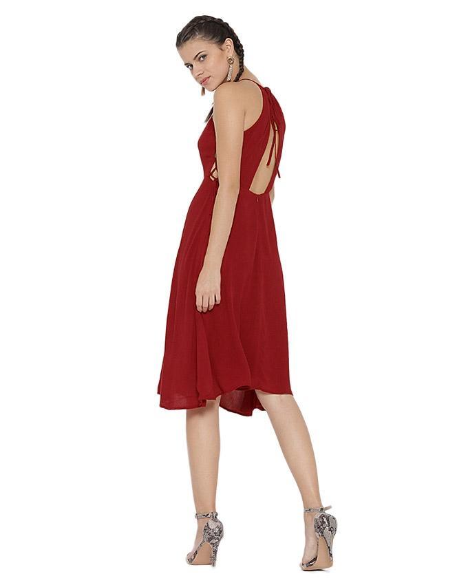 Red Chiffon Casual Long Dress For Women