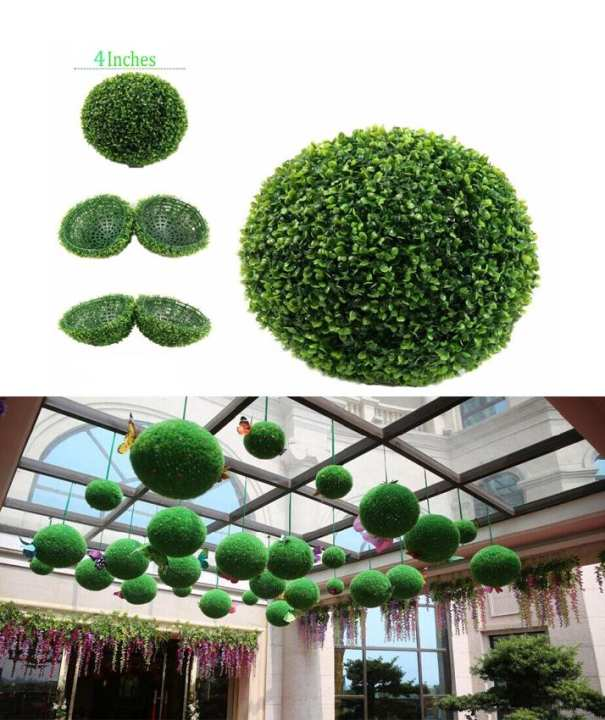 Pack Of 3 Artificial Milan Grass Ball For Décor 4 Inches
