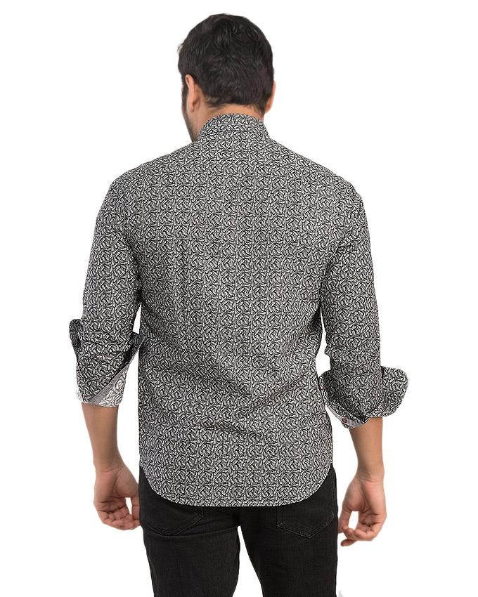 Grey Cotton Carry Printed Shirt For Men