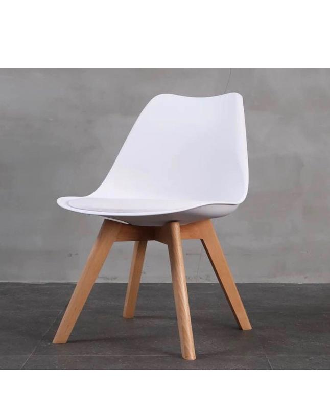 fcd99295f8 LAVIN Lifestyle White Dining Chair Natural Solid Wood Legs with Cushioned  Pad