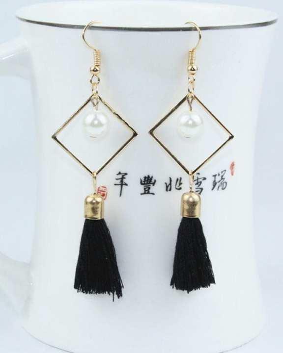 Black Zinc Alloy Tassel Dangle Long Drop Earrings For Women