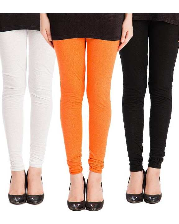 Pack of 3 - Multicolour Cotton Jersey Churidaar Tights For Women