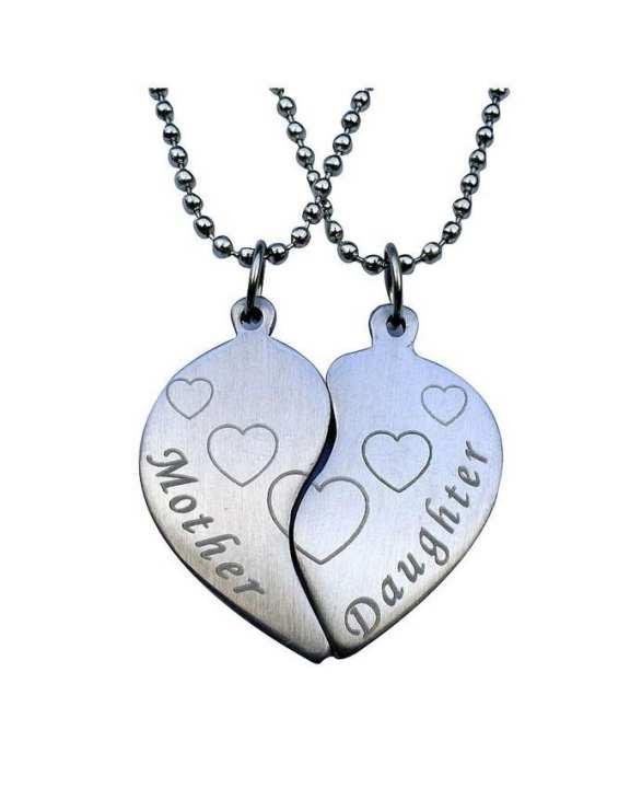 Mother & Daughter Split Hearts Pendants Set