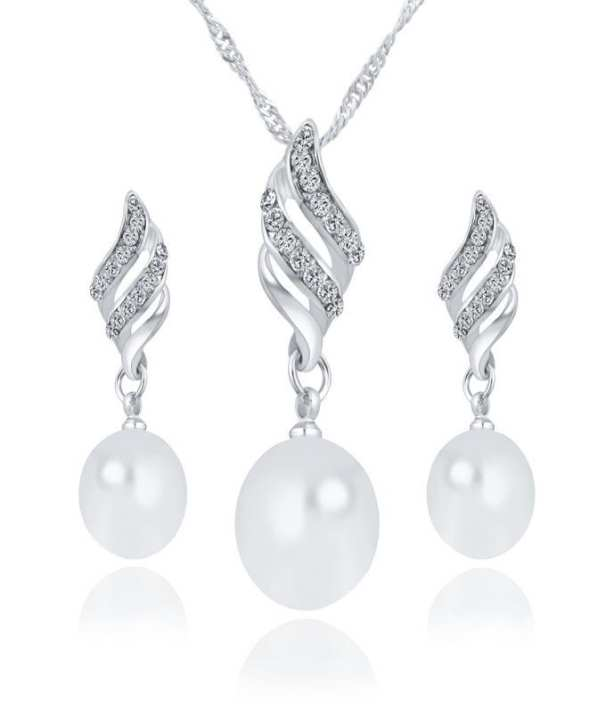 Crystal Silver Color Big Simulated Pearl Jewelry Set