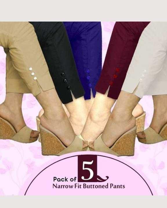 Pack Of 5 - Multicolour Cotton Pant For Women