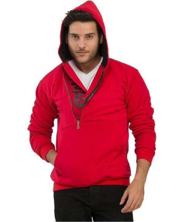 Red Cotton Fleece Swag Printed Hoodie for Men