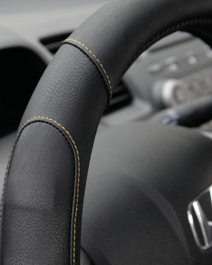 Universal Pure Leather Steering Cover - Black