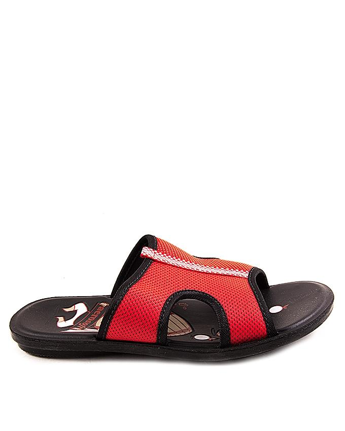 Red Synthetic Leather Slipper For Boys