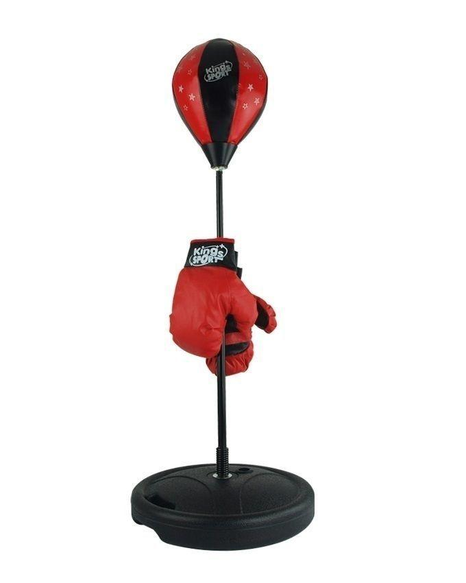 Punching Ball Set for Kids with Gloves - Black & Red