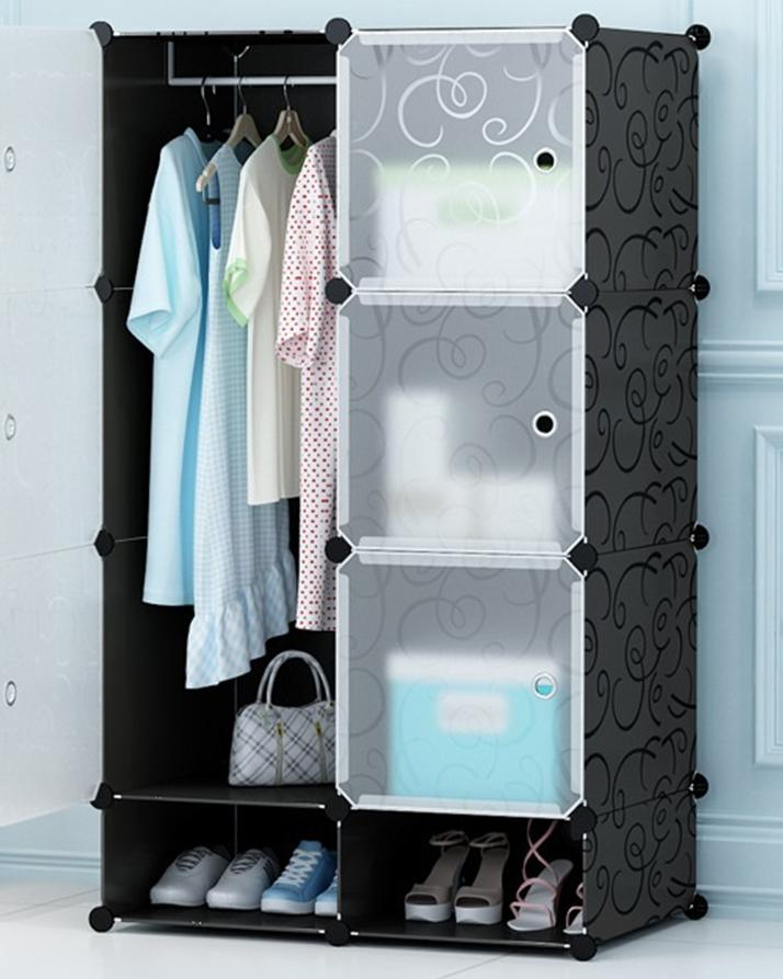 Portable Diy 8 Cubes Wardrobe, Cabinet With Hanging And Shoe Rack - Black