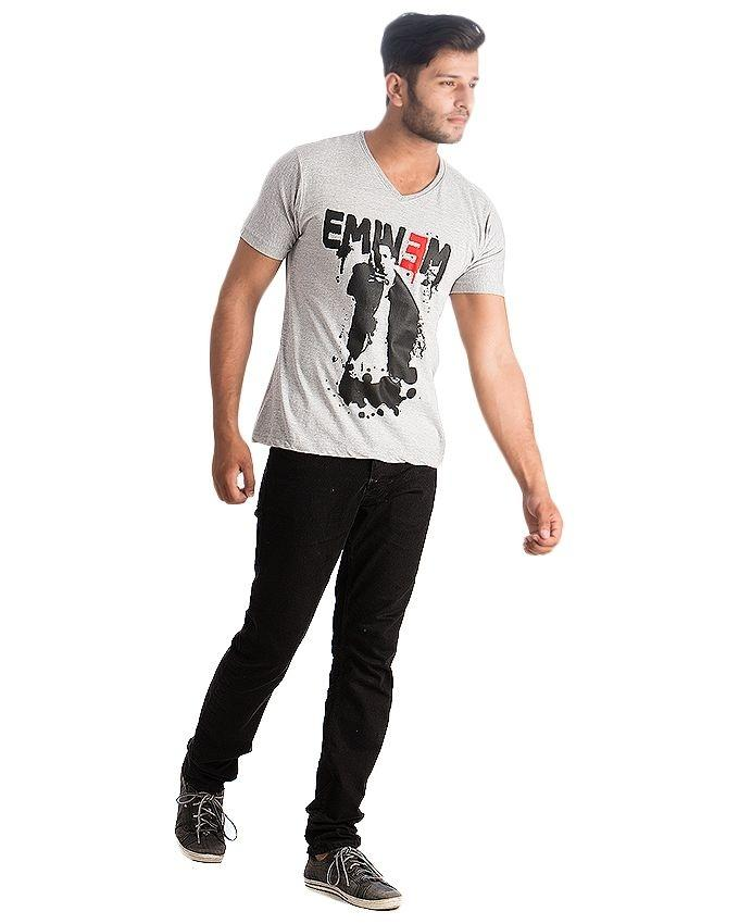 Grey Cotton Eminem T-Shirt For Men