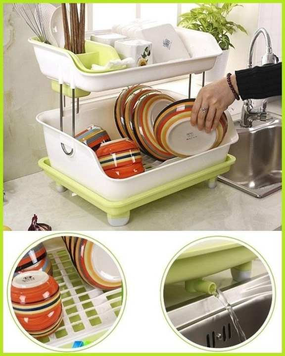 New Double Layer Kitchen Dishes Draining Rack