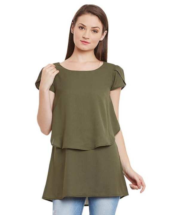 Green Chiffon Top For Women - SI-309