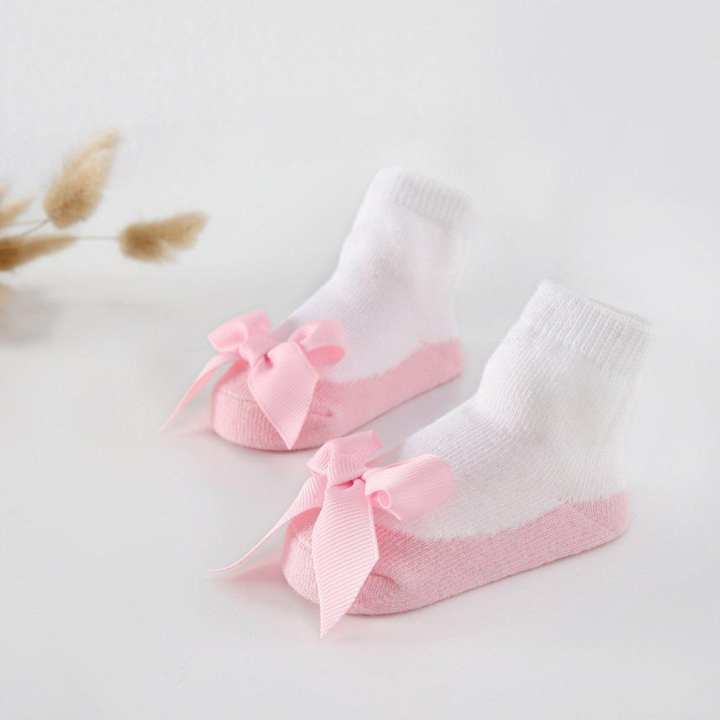 1 Pair Sweet Baby Girls Kids Bowknot Socks Infants Cotton Lace Ankle Pink 12-24M