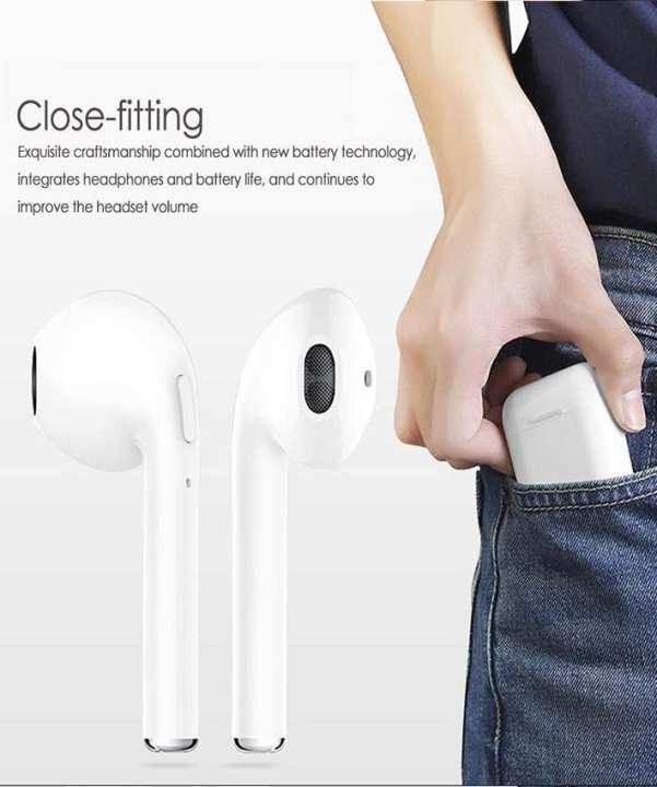 Bluetooth Headphones, Rapidtronic I7 Tws Mini Wireless In-Ear Headset Earpiece With Mic, Hands Free Noise Cancelling For Iphone X 8 8Plus 7 7Plus 6S Samsung With Charging Case Ios Android Smartphones