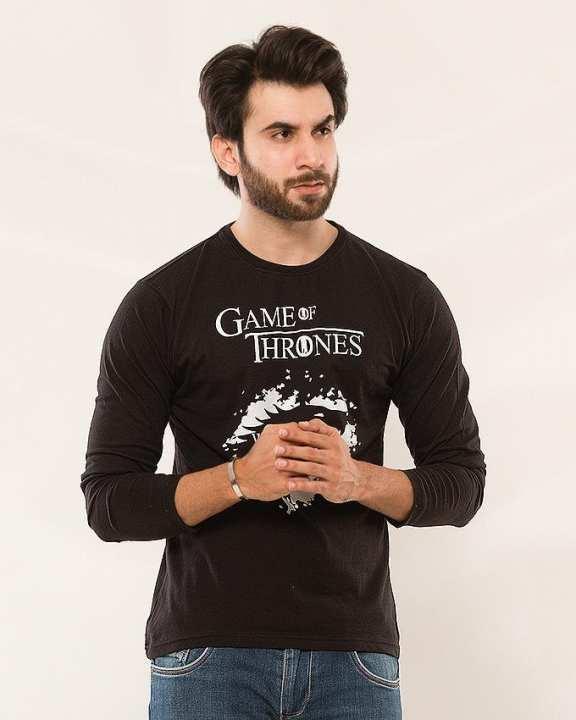 Black Game Of Thrones Printed Full Sleeves T-Shirt