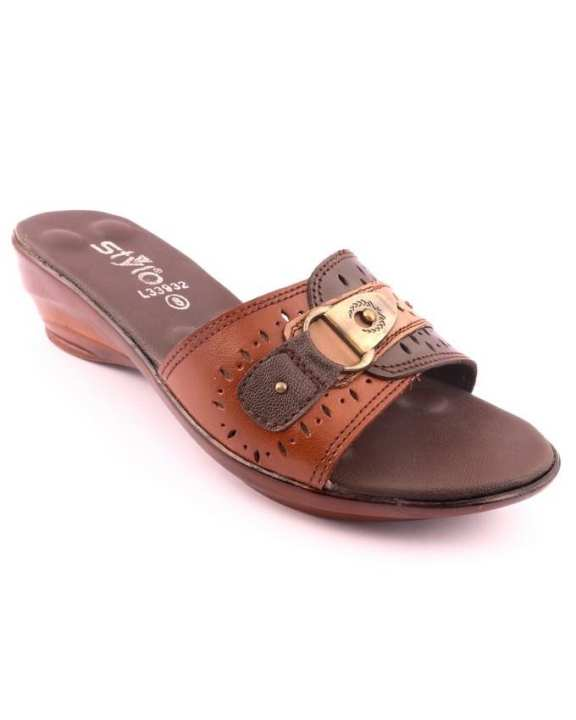 Brown Synthetic Ladies Casual Slipper