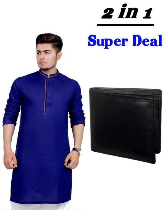 Pack of 2 - Navy Blue Mix Cotton Kurta And Black Leather Wallet For Men