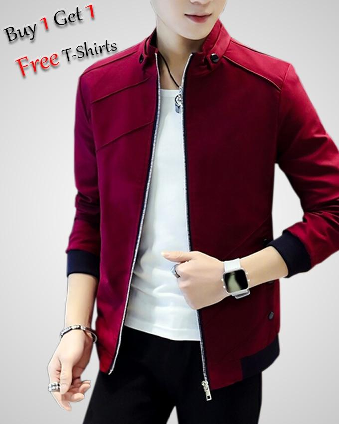 BUY 1 STYLISH FLEECE JACKET GET 1 WHITE ROUND NECK T-SHIRT FREE FOR MEN