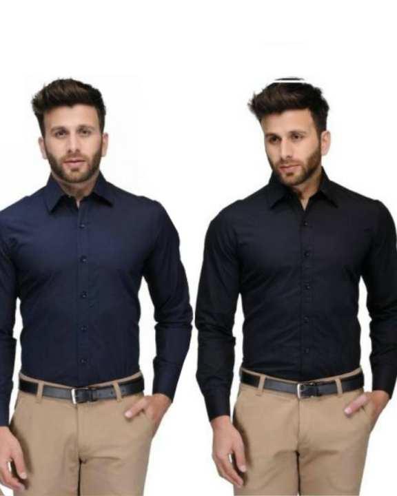 Pack Of 2 - Black & Blue Cotton Formal Shirts For Men