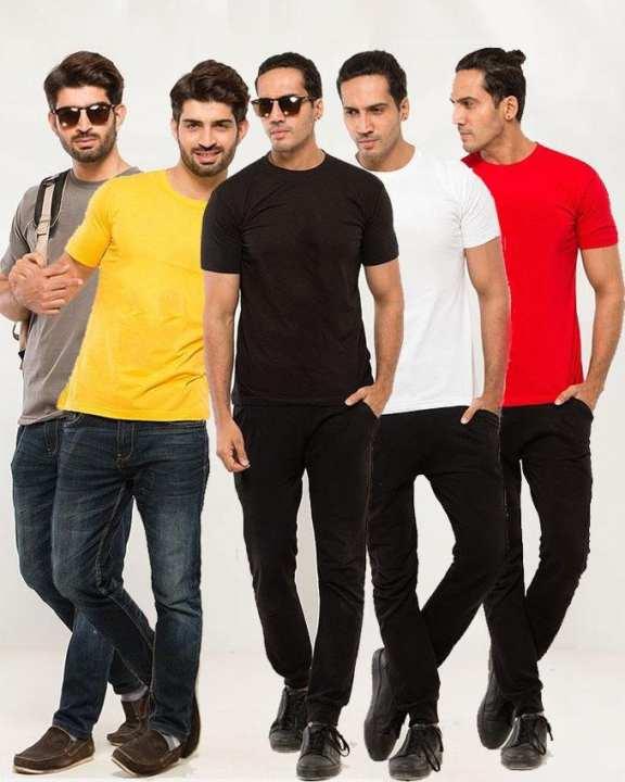 Pack Of 5 Plain Tshirt Combo