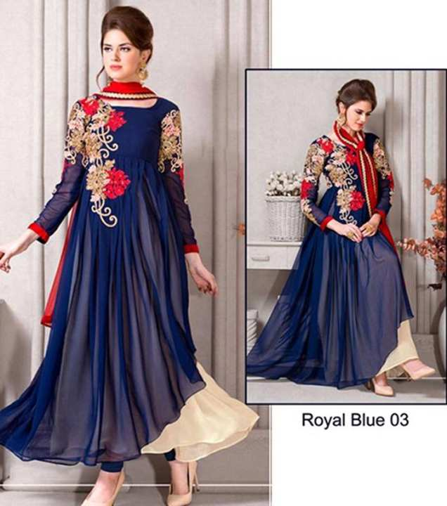 Royal Blue  Chiffon Embroidered Suit For Women - 3 Piece -Royal Blue 03