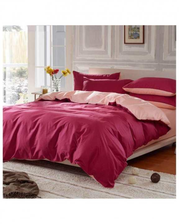Red and Pink Cotton Bed Set - d-011