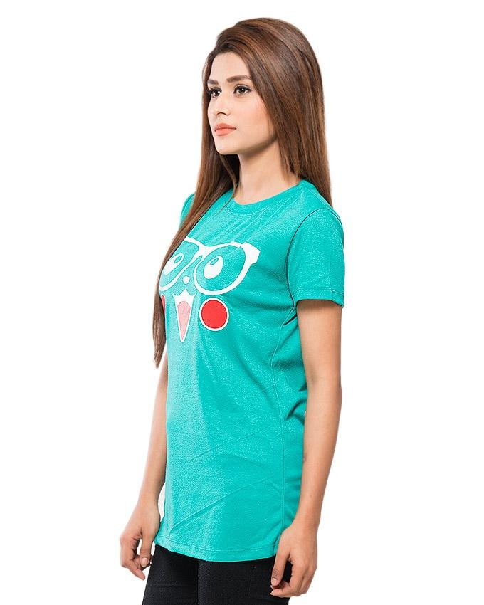 Sea Green Blended Cotton Printed T-Shirt for Women