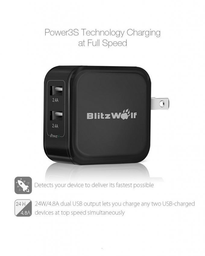 Blitzwolf W Dual Usb Travel Wall Us Charger For Android And Iphone Ipad