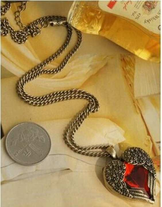 Red Vintage Heart Necklace