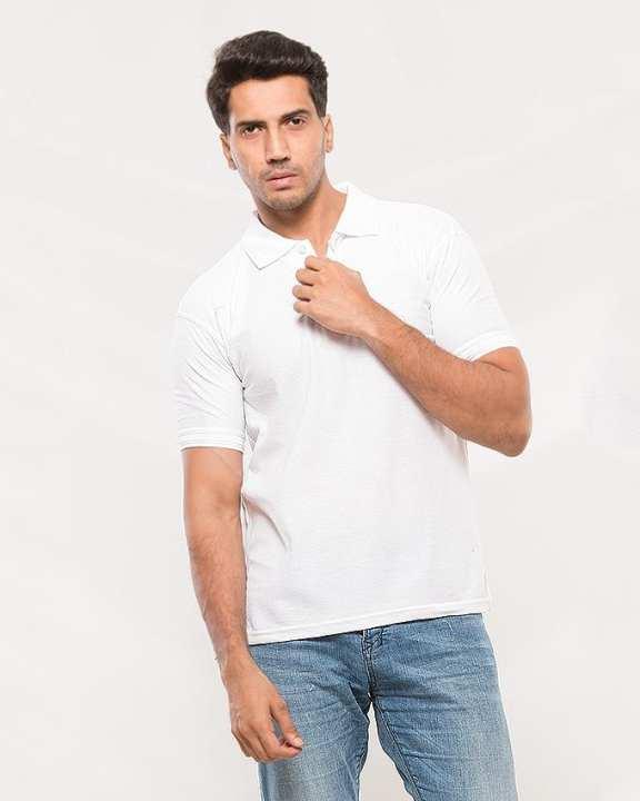White Cotton Plain Polo Shirt For Men