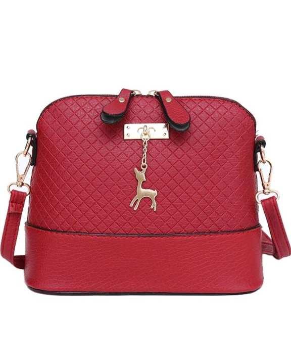 Women Messenger Bag Deer Shell Shoulder Mini Handbag Red
