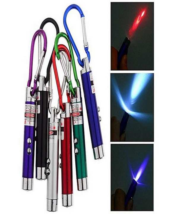 3 in 1 Mini Laser Pen Pointer LED Torch Light UV Keychain Pocket Pen Flashlight for Working Camping