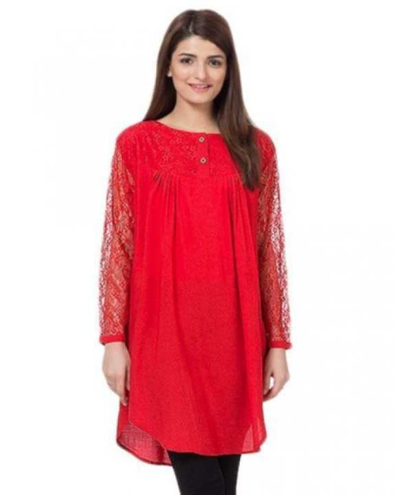 Red Cotton & Net Tunic For Women - RCPA-TunicNet-R