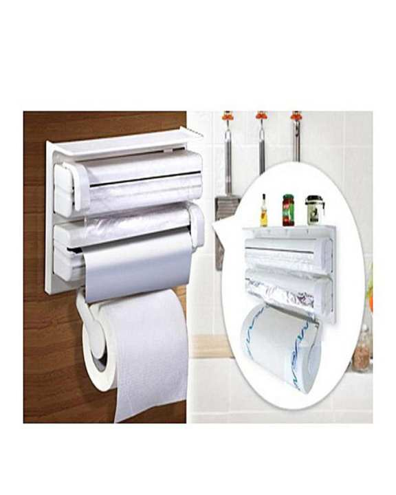 Tripple Paper Dispenser For Cling Film Wrap, Aluminium Foil And Kitchen Roll 3 In 1 Wrap Center Holds Silver Foil, Plastic Wrap, And Paper Towelsp