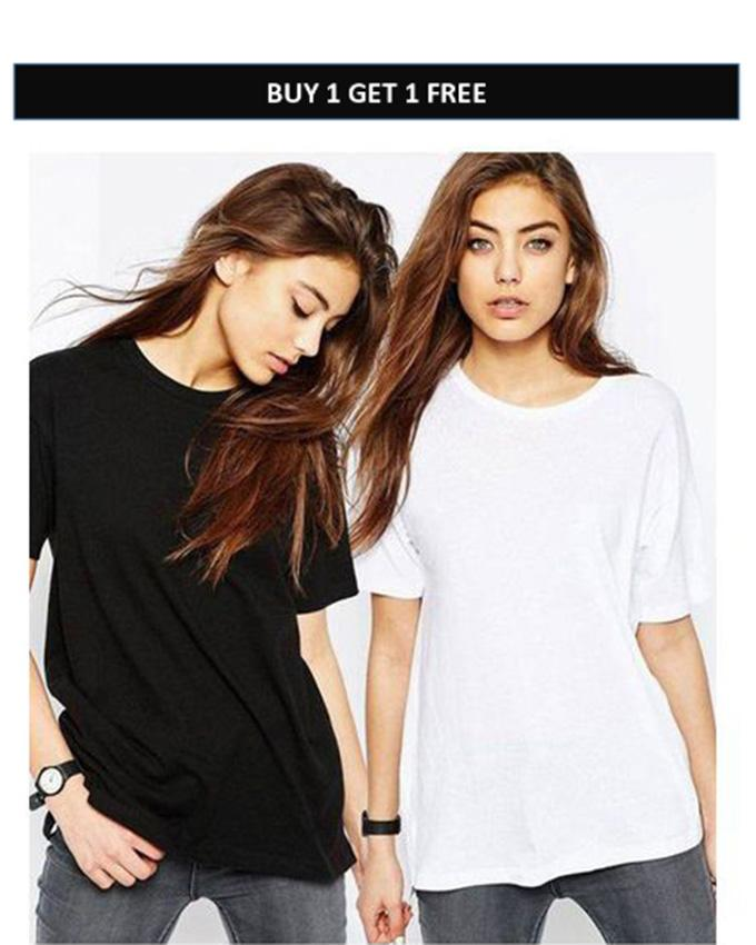 Pack of 2 - Black & White Cotton Tshirts For Women