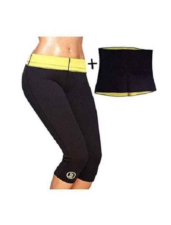 Pack Of 2 - Slimming Pant & Hot Belt - Black & Yellow
