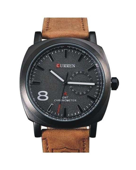 Brown Leather Black Dial Analog Watch For Men
