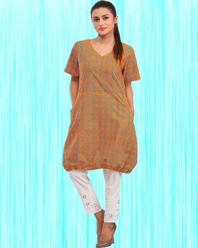 Orange Cotton Short Printed Kurta