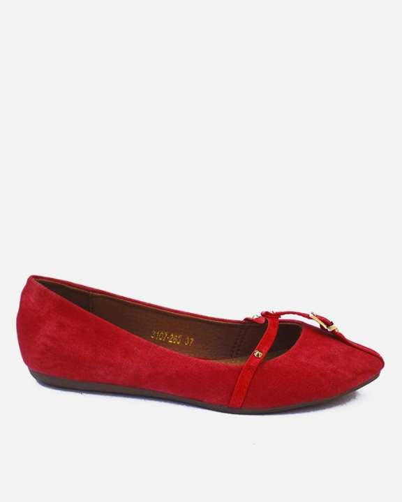 Red Synthetic Leather & Thermoplastic Sheet Fancy Ballet Flats - Nancy 6062