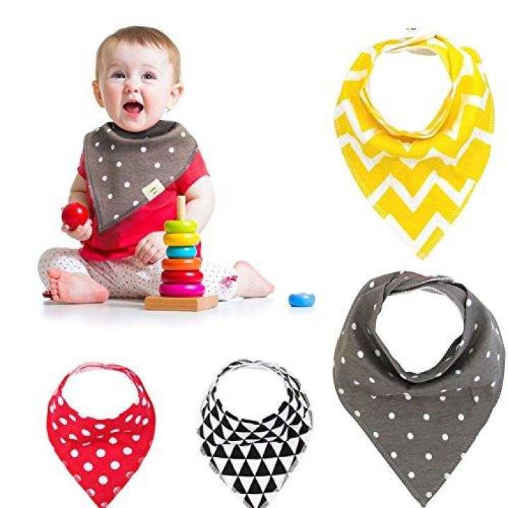 Pack Of 3 - Bandana Bibs For Babies - Multi-Color - Multi Design