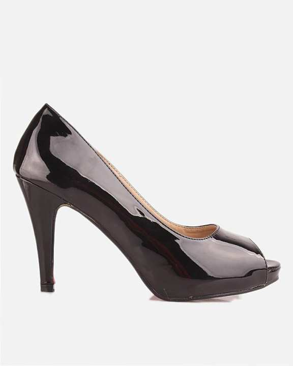 Black Thermo Plastic Sheet & Synthetic Leather Peep Toes Sandal For Women - Queen 7072