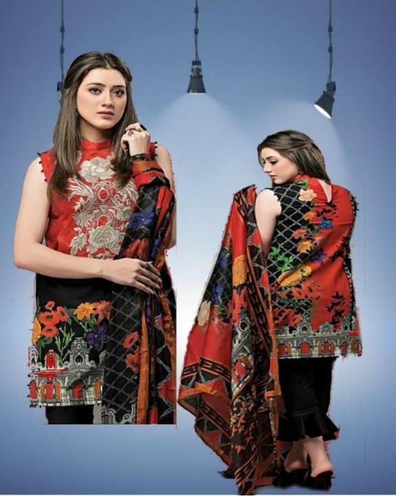 Women's Red And Black Unstitched Lawn - 3 Pcs