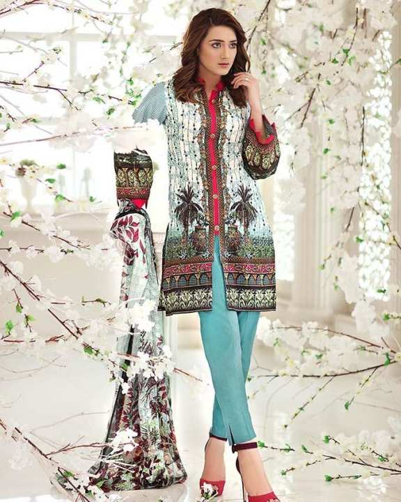 Gul Ahmed - Sky blue Chiffon with Digital Printed Shirt 3PC-Unstitched -  C-496-158450