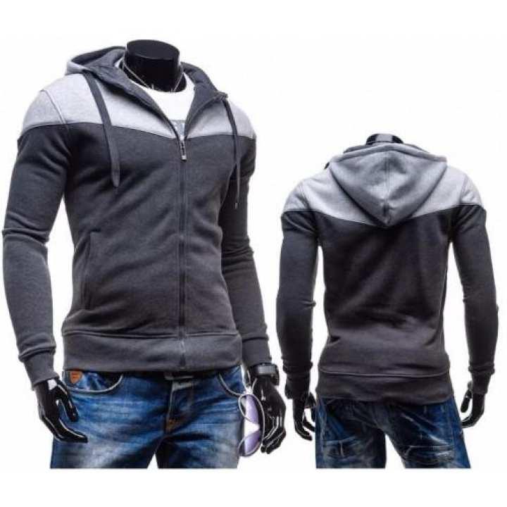 Dark Grey Contrast Hoodie For Men