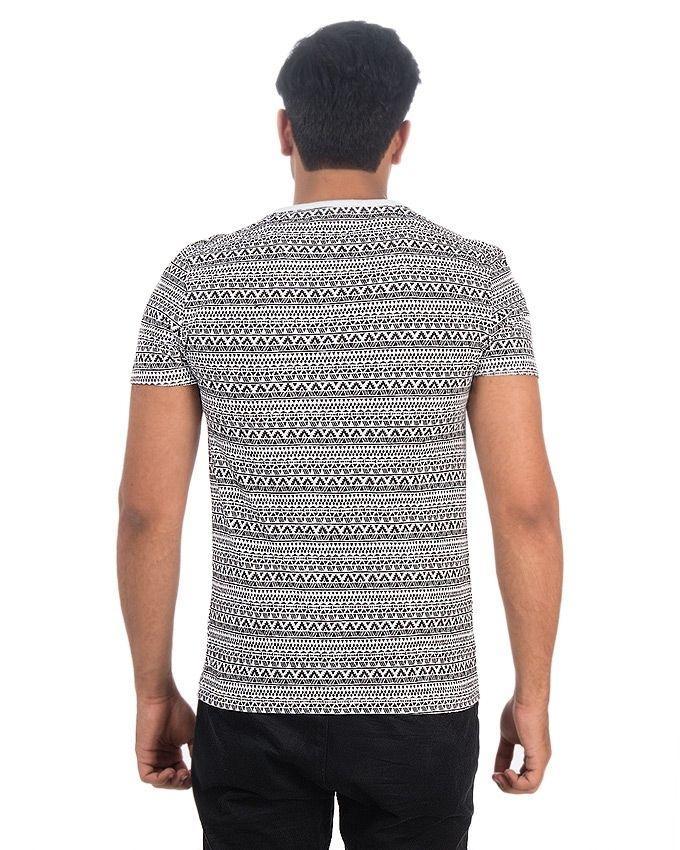 White & Black Jersey Printed Tshirt For Men - Ttc-012